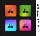 teacher teaching online on... | Shutterstock .eps vector #787254859