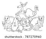 black and white cartoon... | Shutterstock .eps vector #787270960