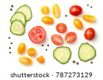 Tomatoes With Cucumber Isolated ...