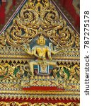 Small photo of Brahma is a god in hinduism. Statue of Brahma created in architecture in Buddhistm.