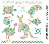 stylized tribal animals... | Shutterstock .eps vector #787279504