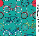 retro pop and vintage bicycle... | Shutterstock .eps vector #787282306