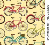 retro pop and vintage bicycle... | Shutterstock .eps vector #787282309