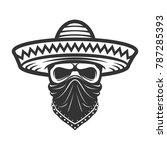 mexican skull in sombrero.... | Shutterstock .eps vector #787285393