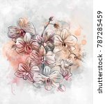 watercolor and pastels orchids' ... | Shutterstock . vector #787285459