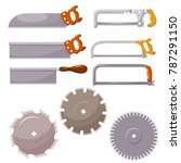 set of metal saws on a white... | Shutterstock .eps vector #787291150