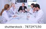 upset manager man talking to...   Shutterstock . vector #787297150
