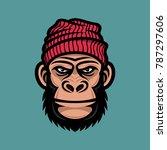 monkey head in a knitted cap....   Shutterstock .eps vector #787297606