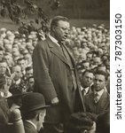 Small photo of Col. Theodore Roosevelt stumping for a fellow politician, c. 1912-15. Location unidentified