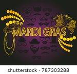 mardi gras carnival golden and... | Shutterstock .eps vector #787303288