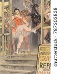 Small photo of LA DANSE, illustration of a French side show enticing customers to purchase tickets. Showgirls wear tights and short skirts and brief corseted bodices