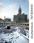 Small photo of MECCA - DEC 13 : View from third floor of Haram Mosque where Muslim pilgrims circumambulate the kaaba Dec 13, 2017 in Mecca. Millions of muslims around the world come for umrah during this time.