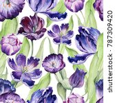 watercolor floral tulip... | Shutterstock . vector #787309420
