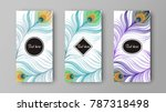 leaflet with green and purple... | Shutterstock .eps vector #787318498