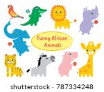 set of funny colorful african... | Shutterstock .eps vector #787334248
