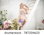 pretty girl in her backyard... | Shutterstock . vector #787334623