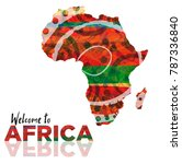 Illustration of african continent with welcome words. Good to use in travel industry, invitation to exotic trips, and other promotional materials