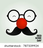 fool clown glasses and red nose.... | Shutterstock .eps vector #787339924
