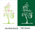 two stylized trees / with flowers / vector illustration - stock vector