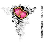 Hearts of love / vector  Hearts are made of gold and brilliants Contains the separated layers - stock vector