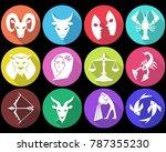 zodiac signs  horoscope symbols ... | Shutterstock .eps vector #787355230
