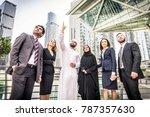 multiethnic group of... | Shutterstock . vector #787357630