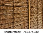 golden brown woven bamboo panels | Shutterstock . vector #787376230