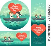 two happy lovers in a boat on... | Shutterstock .eps vector #787382830