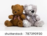 one brown teddy bear and one... | Shutterstock . vector #787390930