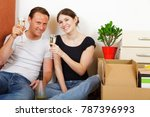 young couple moving | Shutterstock . vector #787396993