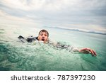 businessman drowning in the sea | Shutterstock . vector #787397230