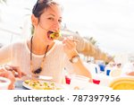 tourist having lunch | Shutterstock . vector #787397956