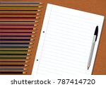 color pencils  pen and exam pad ... | Shutterstock .eps vector #787414720