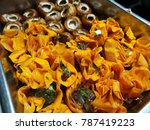 raw mushroom and paprika... | Shutterstock . vector #787419223