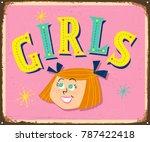 vintage metal sign   girls  ... | Shutterstock .eps vector #787422418