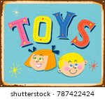 vintage metal sign   toys  ... | Shutterstock .eps vector #787422424