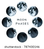 phases of the moon  water color ... | Shutterstock . vector #787430146