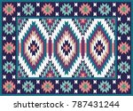 colorful mosaic oriental kilim... | Shutterstock .eps vector #787431244