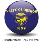 oregon circle button flag... | Shutterstock .eps vector #787441498