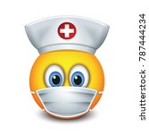 cute nurse emoticon wearing hat ... | Shutterstock .eps vector #787444234