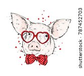 pig with glasses in the form of ... | Shutterstock .eps vector #787452703