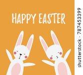 cute white easter rabbits...   Shutterstock .eps vector #787453399