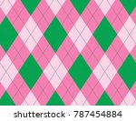 pink and green argyle background | Shutterstock .eps vector #787454884
