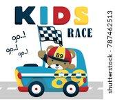 race car cartoon vector with... | Shutterstock .eps vector #787462513