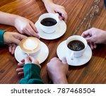 closeup of hands with coffee... | Shutterstock . vector #787468504
