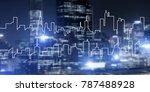 modern night city scape glowing ... | Shutterstock . vector #787488928