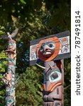 Small photo of 19th century Haida Chief Skedans mortuary totem pole in Stanley Park, Vancouver