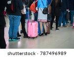 queue of asian people waiting... | Shutterstock . vector #787496989
