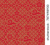 chinese pattern vector. red... | Shutterstock .eps vector #787498930