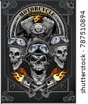 vintage motorcycle label | Shutterstock . vector #787510894